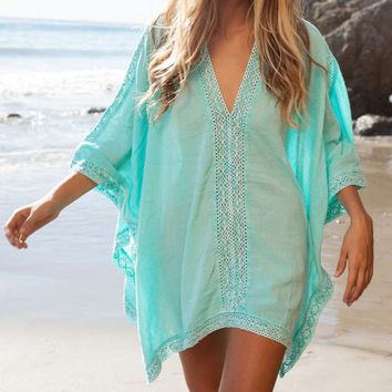 Light Blue V-Neck Cover-Up