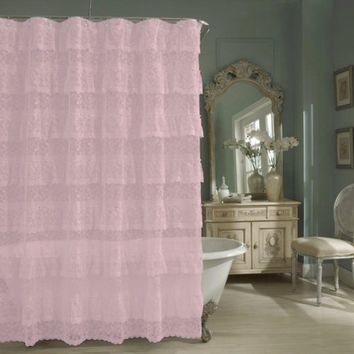 Lorraine Home Fashions Priscilla Shower Curtain, 70-Inch by 72-Inch, Pink