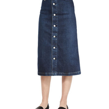 Cool Button-Front Denim Skirt,