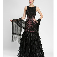Sue Wong Black & Rose Illusion Feather Gown - Unique Vintage - Prom dresses, retro dresses, retro swimsuits.