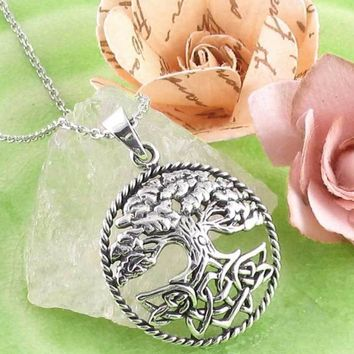 Lush Tree of Life with Celtic Knot Roots Necklace in Sterling Silver