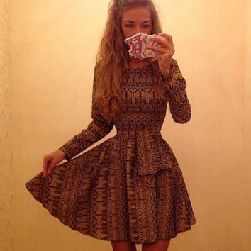 Printed Long Sleeve Sheath A-Line Mini Skater Dress