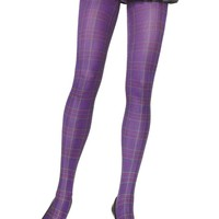Leg Avenue Female Opaque Paper Print Plaid Tights 7726