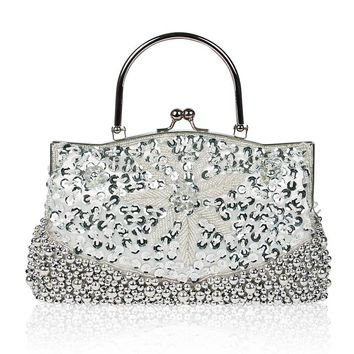 Bewitu 2018 Elegant Women Evening Clutches Bling Sliver Flower Beaded Clutch With Pearl Evening Bags Female Purses Handbags