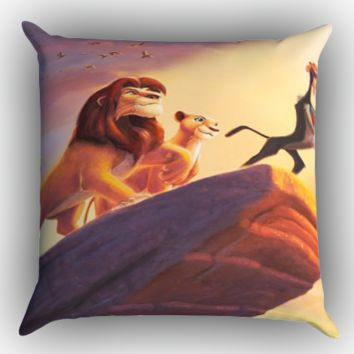 lion king ART Y1412 Zippered Pillows  Covers 16x16, 18x18, 20x20 Inches