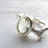 silver branch ring - green amethyst twig ring - prasiolite branch ring - branch engagement ring - green gemstone - rustic engagement ring