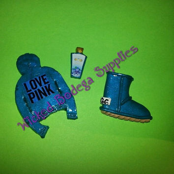 Victoria Secret Love Pink Hoodie, UGG, Lotion Cabochon Set for DIY Projects