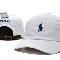 White POLO Sports Embroidered Baseball Cap Hat
