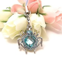 Shiny Heart Shaped Spider Cell Phone Charm Baby Blue