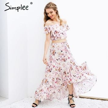 Off shoulder print summer dress suit Sexy ruffle crop top asymmetrical long dress Two-piece suit robe femme