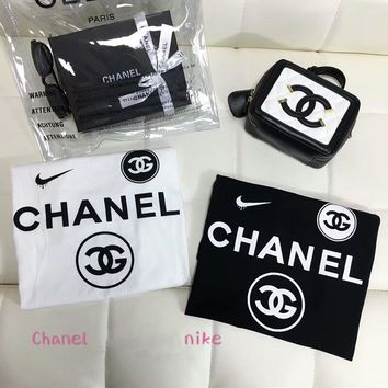NIKE & CHANEL Co-branded 2018 Summer Spoiled Personality Print T-shirt F-AA-XDD