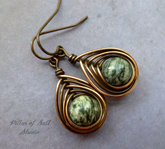 Copper Earrings Wire Wrapped Jewelry From Pillar Of Salt
