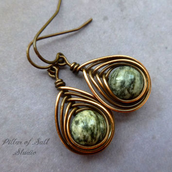 Copper earrings, wire wrapped jewelry handmade, wire jewelry, copper jewelry, black Spiderweb Jasper, earthy jewelry, wire wrapped earrings