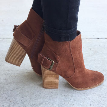 City Slicker Suede Booties-Rust