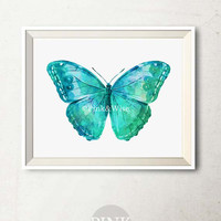 Instant Download Art Print, Printable art wall decor Blue Butterfly print Wall art Printable Butterfly art print Bedroom decor print