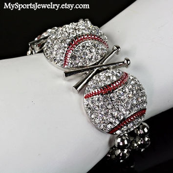 Rhinestone Baseball Stretch Bracelet by MySportsJewelry on Etsy