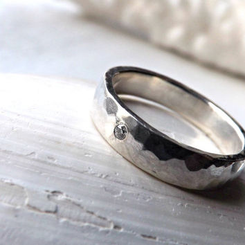 rustic diamond ring, hammered silver ring with diamond, diamond silver ring, rustic engagement ring, mens diamond ring, rustic wedding ring