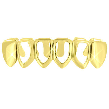 Bottom Mouth Teeth Grillz Caps Grill 14K Yellow Gold Finish