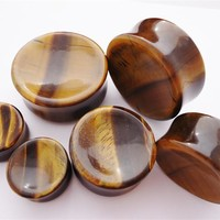Concave Tiger's Eye Stone Plugs (8 gauge - 2 inch)