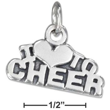 """Sterling Silver Antiqued """"i Heart To Cheer"""" Charm"""