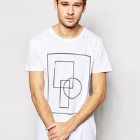 Selected Longline T-Shirt with Geo Print