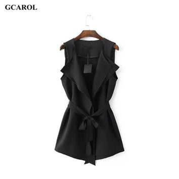 Women New Ruffles Collar Vest OL Work  Black Vest With Sashes  Asymmetric Length Summer Spring Ladies'Elegant Waistcoat