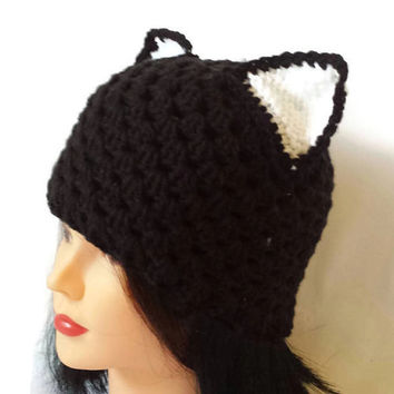 Crochet Cat Hat, Cap with Cat Ears, Women kitty beanie, Yarn Kitten Hat, Adult Animal Ears, Warm Head Wear, Etsy Finds Popular Winter Gifts