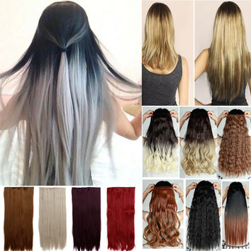 26 inch 16 colors straight synthetic hair clip in Hair Extensions cosplay