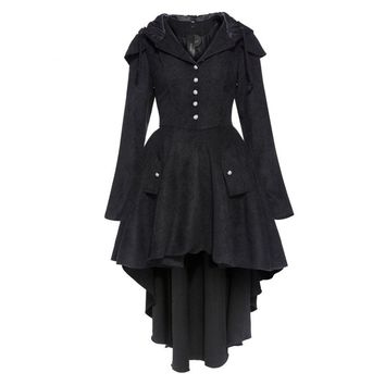 vintage coat asymmetric autumn black women gothic cotton blends trench winter overcoat