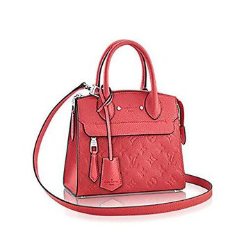 Authentic Louis Vuitton Empreinte Leather Pont-Neuf Mini Tote Cross Body Handbag Article: M41747 Poppy