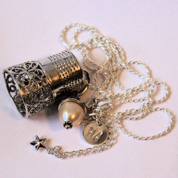 Peter Pan Thimble and Acorn Hidden Kisses Necklace Sterling Silver and Freshwater Pearl Second Star Right