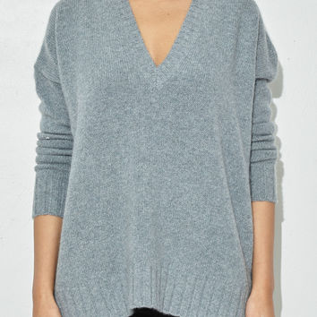 Oyster Olympic V-Neck Boyfriend Sweater