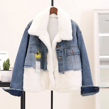 Trendy Winter Women Faux Fur Jacket Turn-Down Collar Fashion Long Sleeve Spliced Coat Parka Women Loose Denim Jacket Streetwear AT_94_13