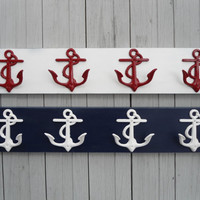beach home decor anchor wall hooks, boat, cabin, distressed wood, coat rack hooks, beach towel holder