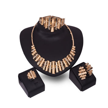 YIKIMAE Fashion Nigerian African Beads Jewelry Sets Gold Plated Vintage Flute Women Wedding Party Accessories Christmas Gift