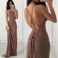 Sexy Spaghetti Strap Lace Up Backless Pure Color Long Dress
