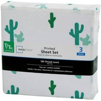 Mainstays 180 Thread Count Sheet Set, Cactus Pattern - Walmart.com