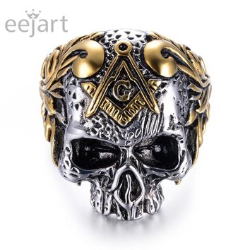 eejart 316L Stainless Steel Classic Masonic Skull Head Rings Men's Biker Ring jewelry