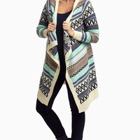 Navy-Multi-Colored-Tribal-Striped-Long-Knit-Maternity-Cardigan