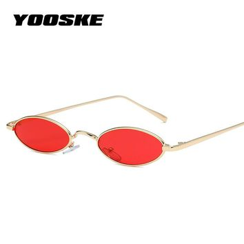 YOOSKE Small Oval Sunglasses for Women Men Luxury Round Sun Glasses Retro Metal Frame Clear Red Pink Eyewear
