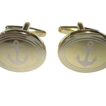 Gold Toned Etched Oval Nautical Anchor Cufflinks