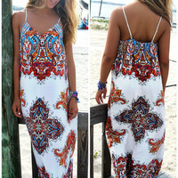 Lakeshore Red Moroccan Tribal Print Maxi Dress