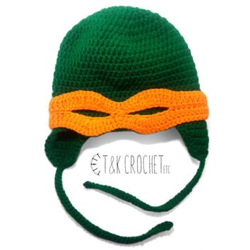 Green Crochet Turtle Hat - Crochet Turtle Hat - Earflap Turtle Hat with Ninja Mask