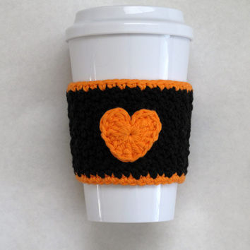 Crochet Heart Coffee Cup Cozy San Francisco Giants Orange and Black