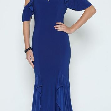 Royal Blue Mermaid Long Prom Dress Ruffled Cold-Shoulder