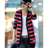 Long Sleeve Apparel Women Clothing Fashion Autumn Apparel New Style Stripe Casual Red Knitting Cardigan M/L @GP0006r $18.66 only in eFexcity.com.