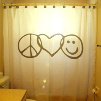 Peace Love Happiness Shower Curtain Peace Sign Love Heart Smiley Face inspirational motivational inspiring, unique shower curtains