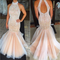 2017 New Fashion Crystals High Neck Mermaid Prom Dresses Sexy Beaded Backless Long Pageant Gowns Formal Evening Dresses