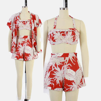 Vintage 40s 3 Piece HAWAIIAN SET / 1940s Crop Halter Top Shorts Tea Timer Cover-Up Shirt S