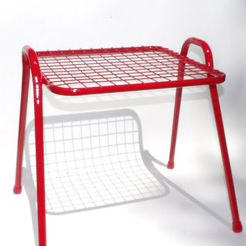 Wire End Table Red Side Table Vintage Metal Indoor Or Outdoor Furniture Living Room Stand Mid Century Modern Home Decor Holder Atomic